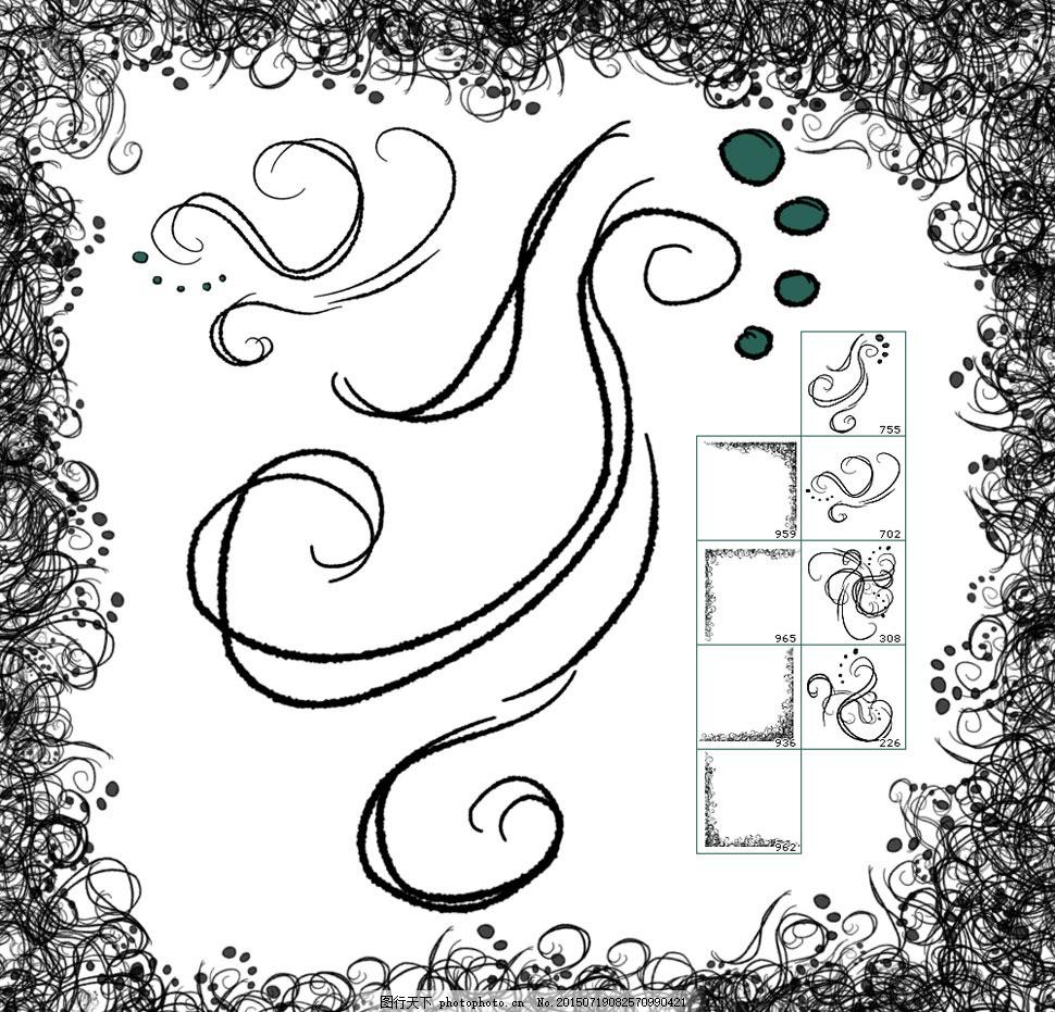 手绘缠绕线条和手绘边框笔刷