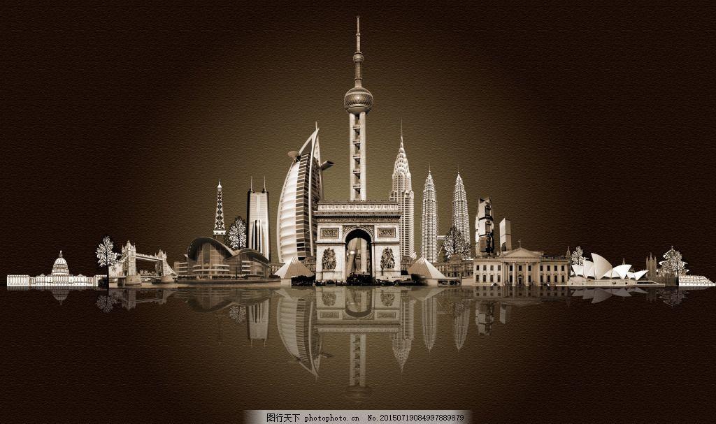 东方明珠 中国著名建筑物 黑色