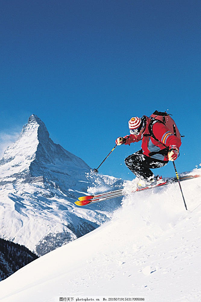 设计图库 高清素材 自然风景  急速下滑的滑雪运动员高清 冬天 雪地