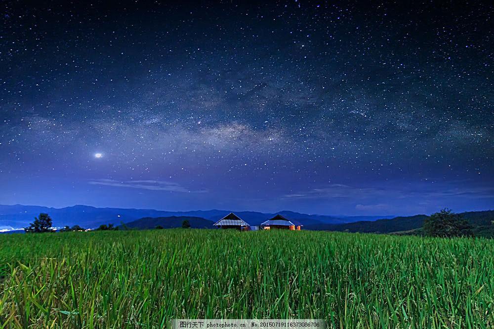 设计图库 高清素材 自然风景  美丽稻田夜晚风光图片下载 稻田夜景