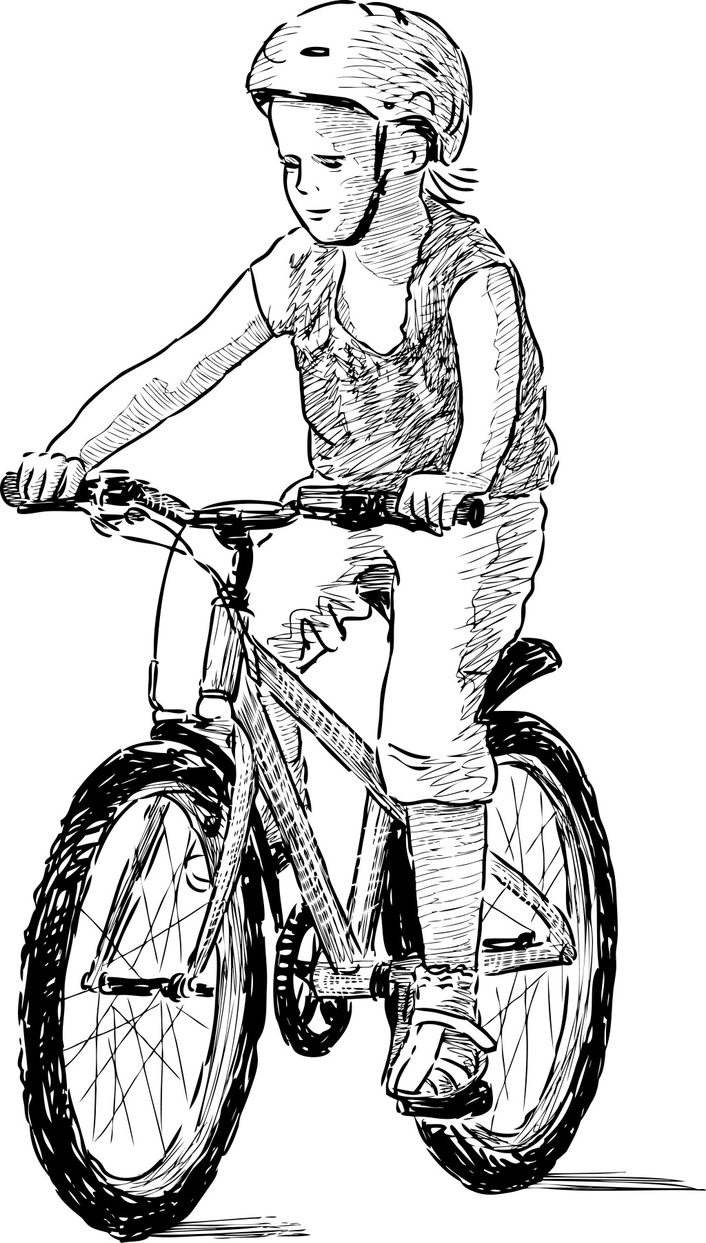 骑自行车的儿童 手绘 速写 骑自行车 儿童 ai 白色 ai