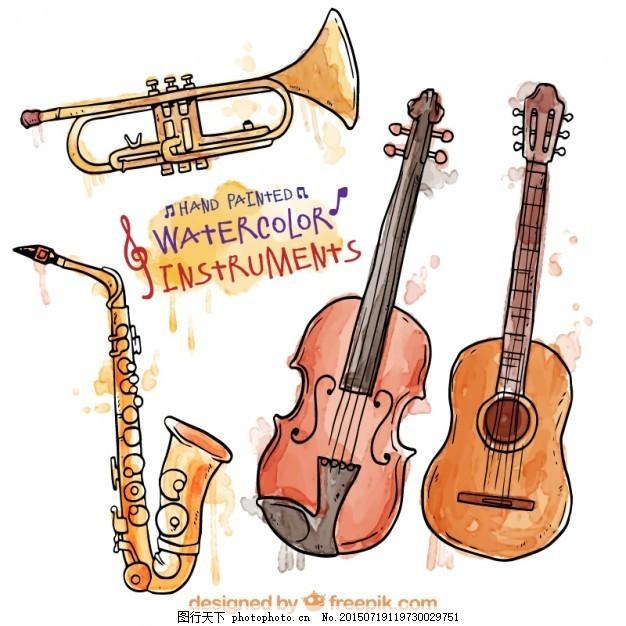 手绘水彩乐器