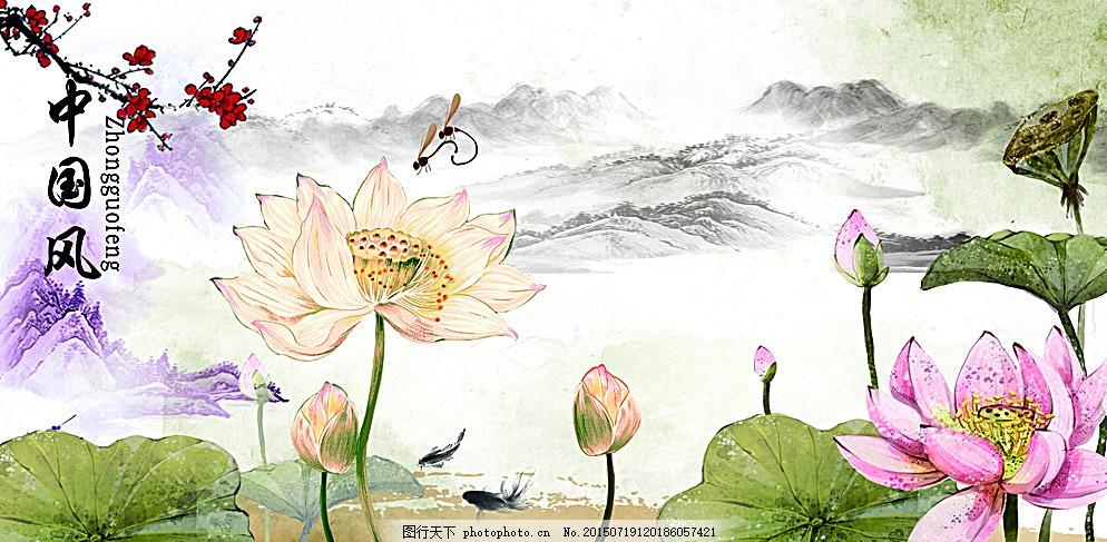 中国风荷花 中国风 荷花 山水画 国画 浅色背景 水墨画 荷塘月色 梅花