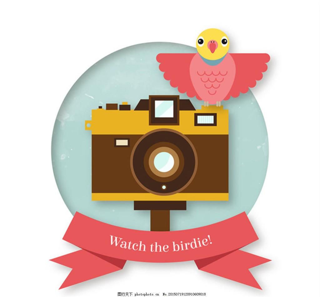 精美照相机与卡通小鸟