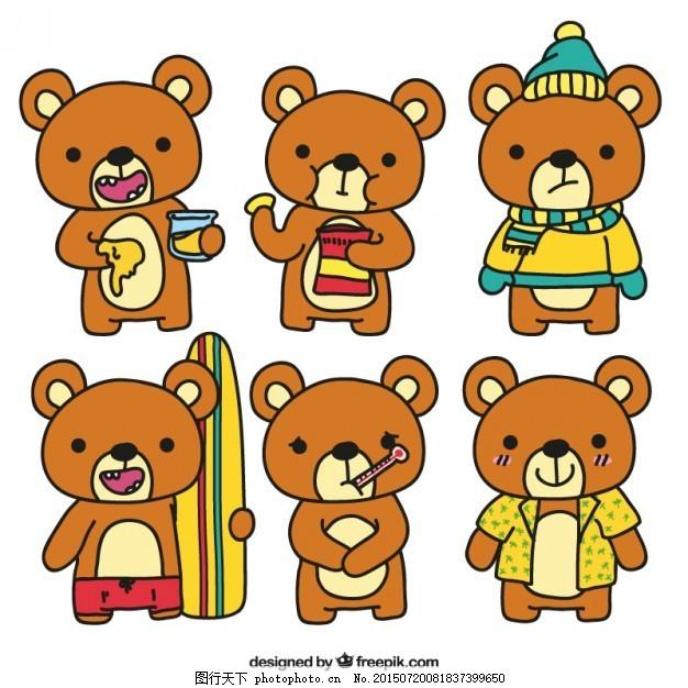手拉有趣的泰迪熊 儿童 动物 手画 孩子 帽子 蜂蜜 玩具 儿童玩具