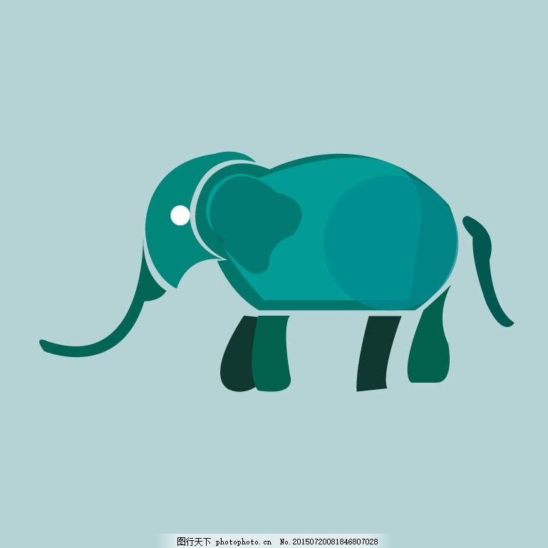 大象 动物 图形创意 青色 天蓝色