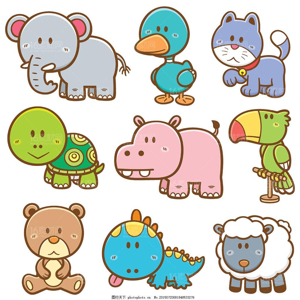 卡通动物 卡通漫画 卡通插画 卡通矢量图 卡通猫 狗 大象 鹦鹉