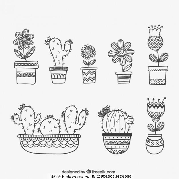 手绘的植物 花 手工 手绘 可爱的植物 绘画 植物 盆栽 仙人掌 可爱
