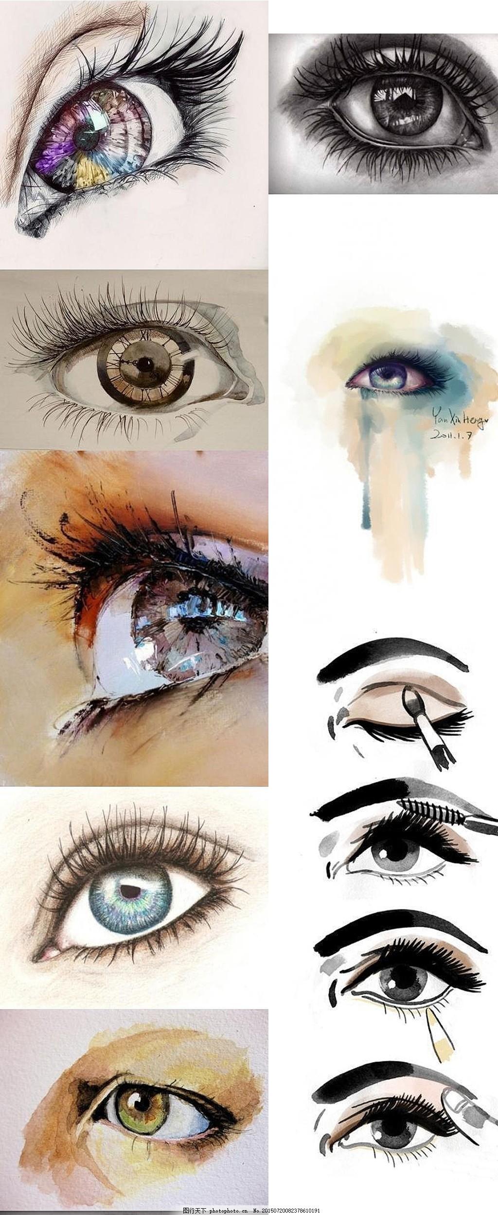 插画手绘素描眼睛 插画 手绘 素描 眼睛 五官 美女手绘 水粉 水彩
