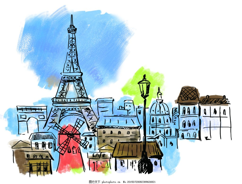 巴黎铁塔 手绘 建筑 插画 psd 白色