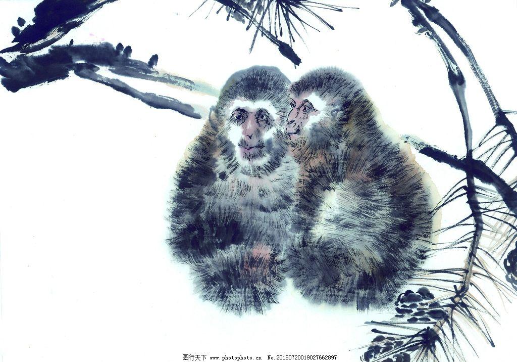 黑白 十二生肖 国画 手绘猴 油画 装饰画 铅笔 动物 写生 色彩 复古