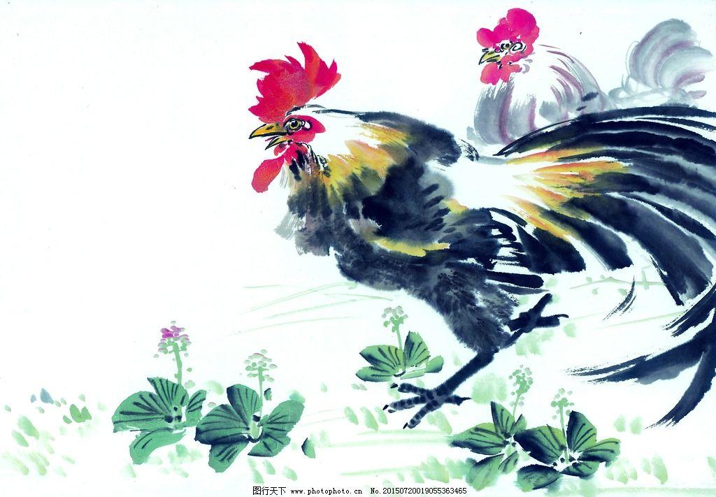 黑白 十二生肖 国画 手绘 鸡图片