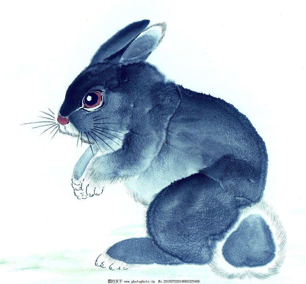 黑白 十二生肖 国画 手绘兔 玉兔 白兔 黑兔 灰兔 赤兔 油画 装饰画