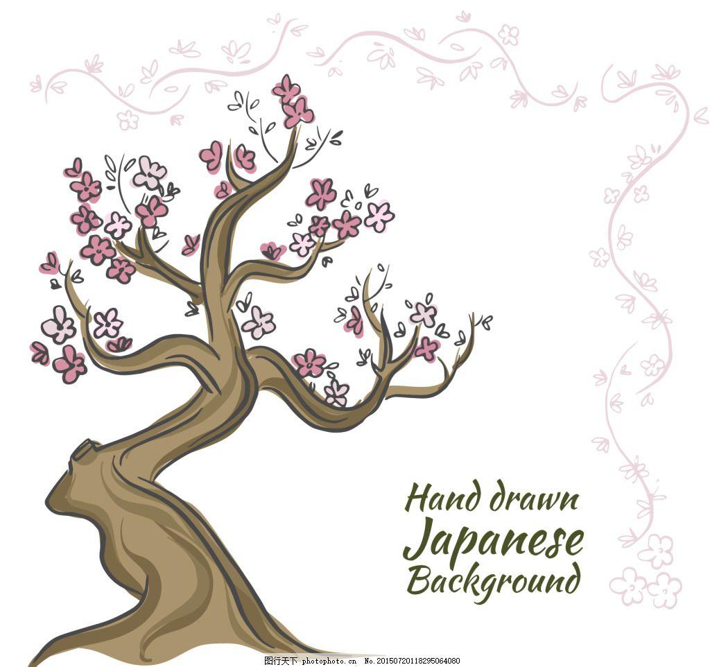 手绘日本树背景 手绘树背景 白色