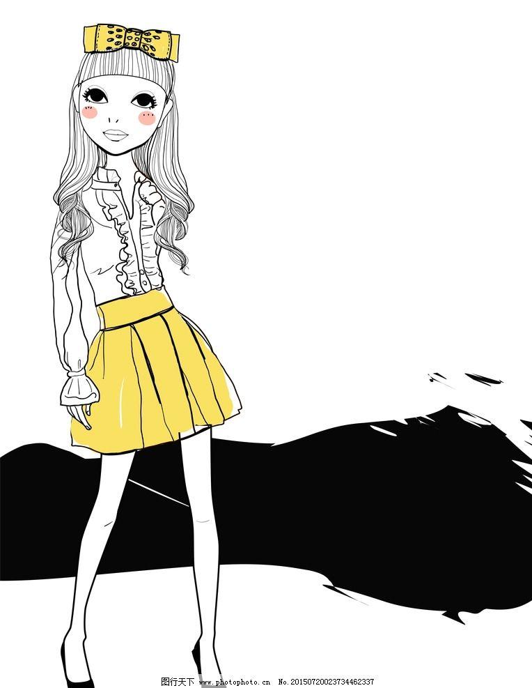卡通女孩 手绘少女 女人 时尚美女 女性素描 美女 女生 简笔画 插图