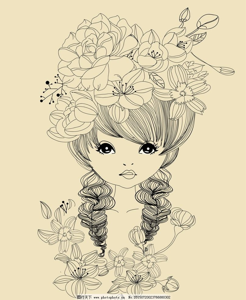 手绘少女 卡通女孩 女人 时尚美女 女性素描 美女 女生 简笔画 插图
