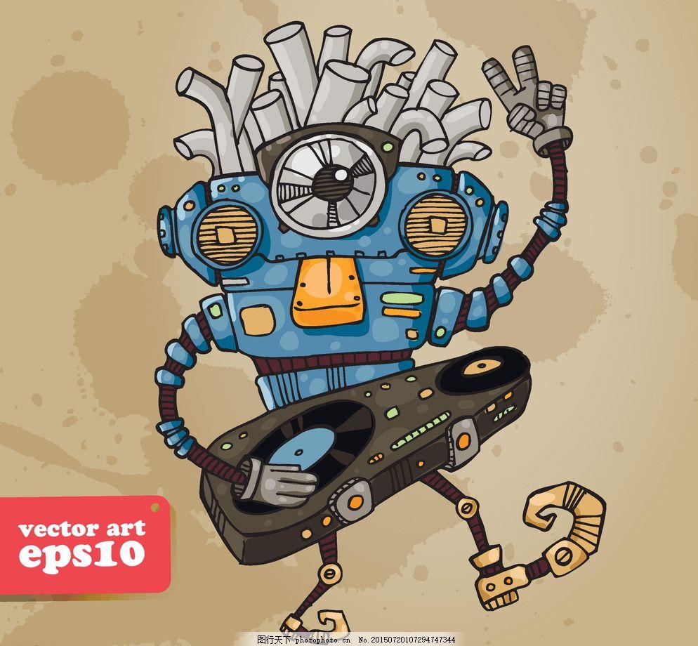 机器人 商务创意 创想 手绘 科技背景 卡通动漫 卡通机器人 科技时代图片