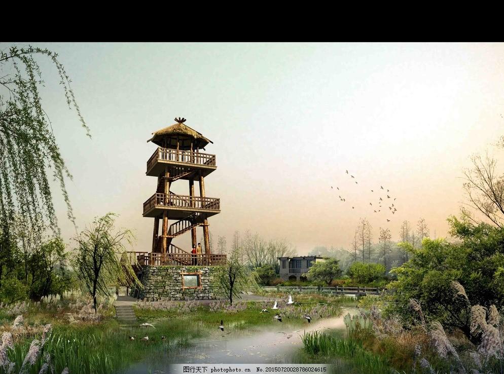 景观效果图分层 小区 景观 广场 别墅效果图 住宅 景亭 水体 跌水