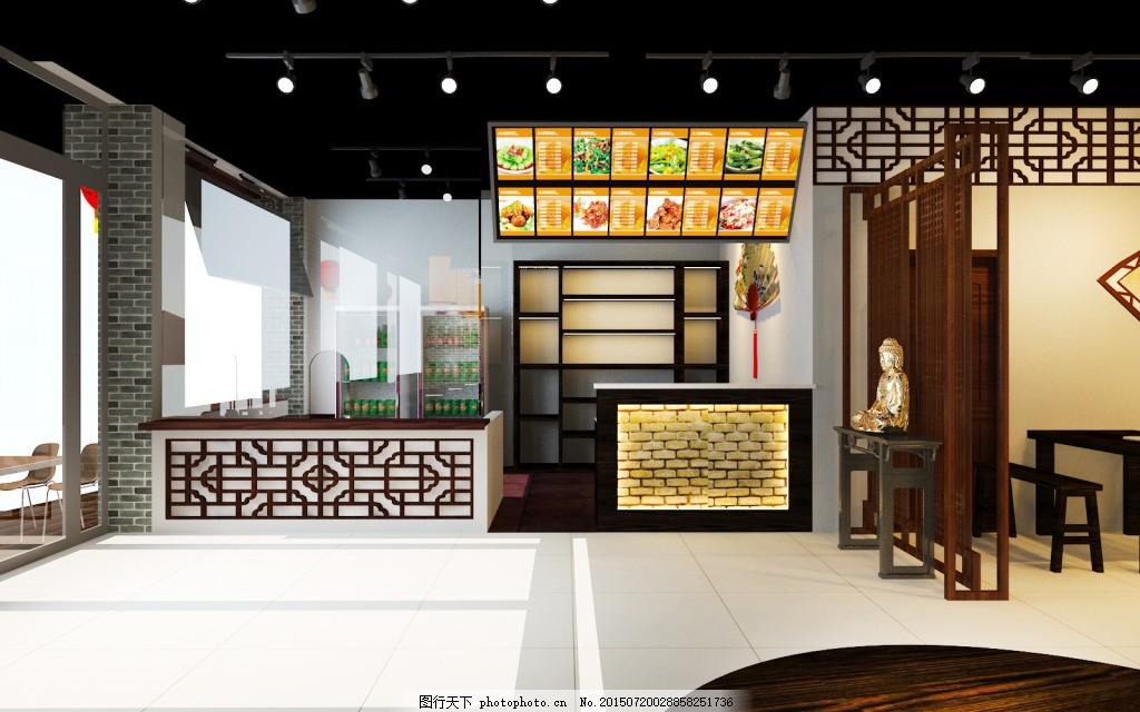 栾川老广州第二轮 (4) 中式 饭店 收银台 明档 中式通花板图片