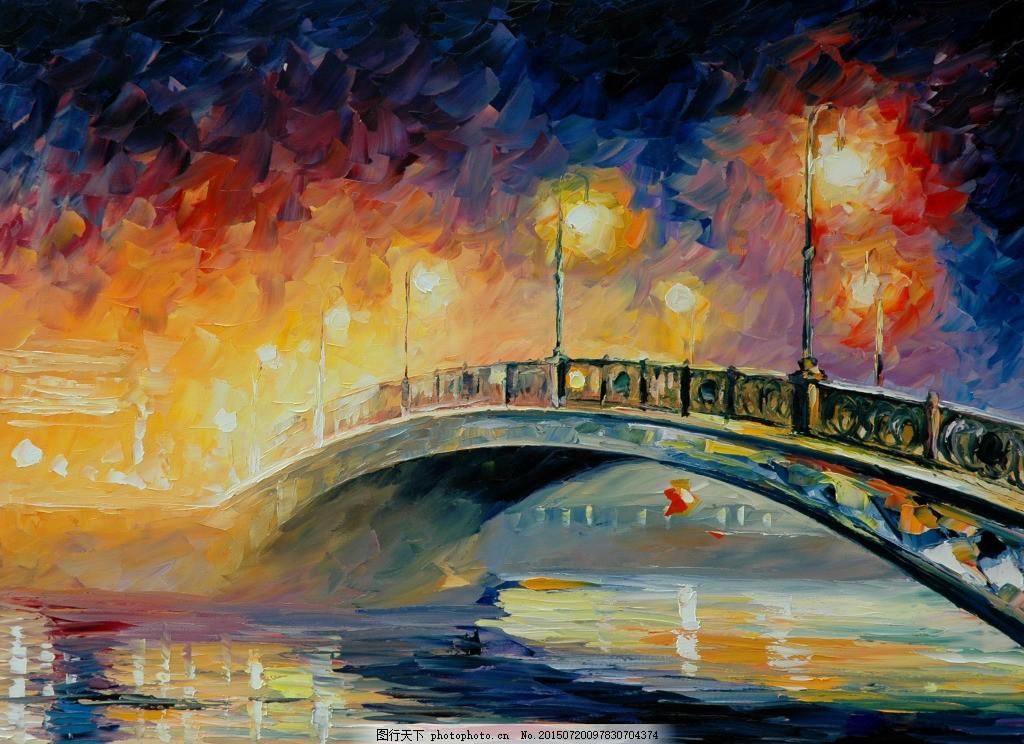 油画小桥 欧式 黑色