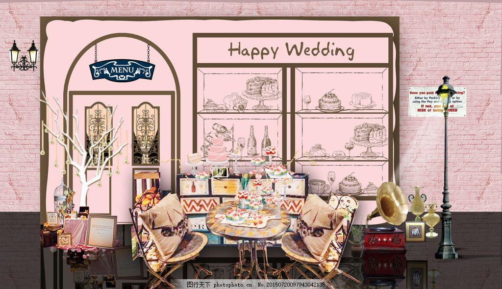 婚礼甜品区 粉色 婚礼 甜品区 欧式 时尚风 橱窗设计 背景 psd