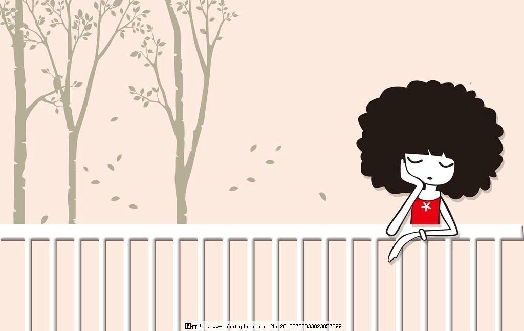 手绘女孩 手绘树 背景树木