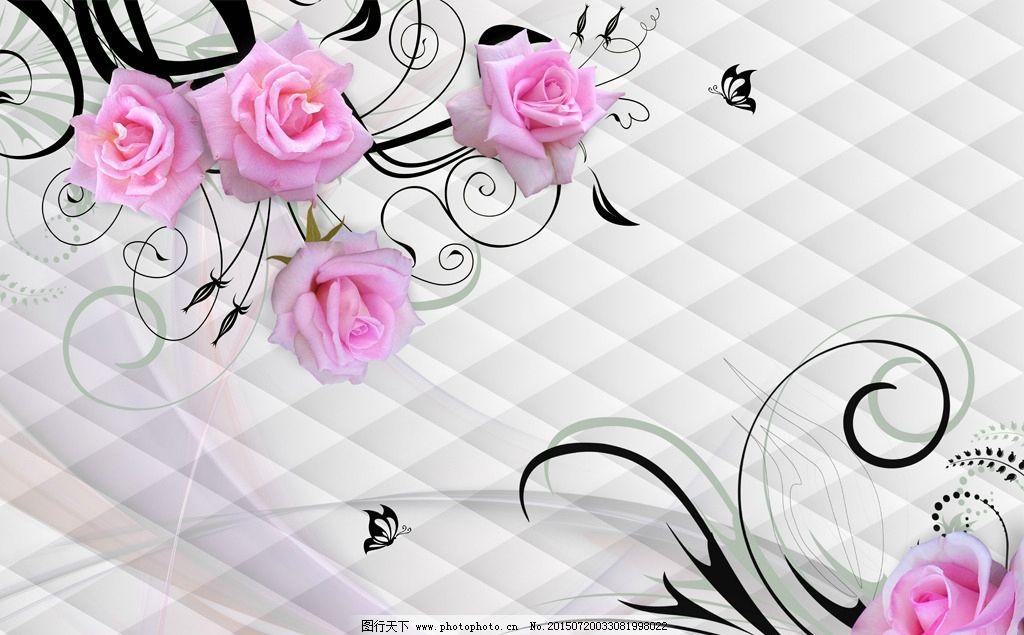 手绘欧式玫瑰软包背景墙图片