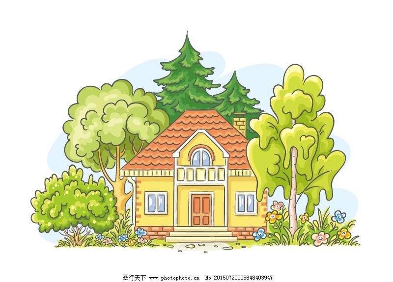 卡通房子免费下载 房子 卡通 可爱 手绘 可爱 卡通 手绘 房子 矢量图