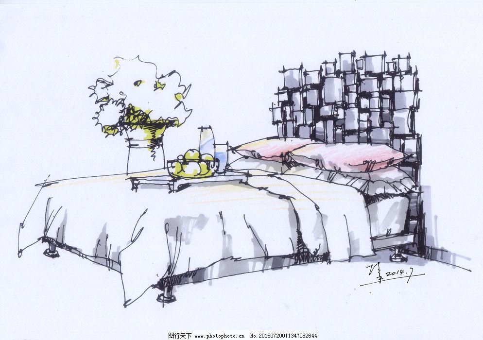 室内手绘床线稿