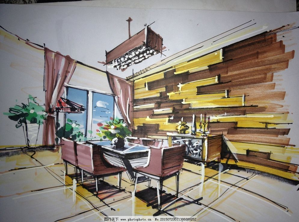 餐厅手绘效果图图片_室内设计