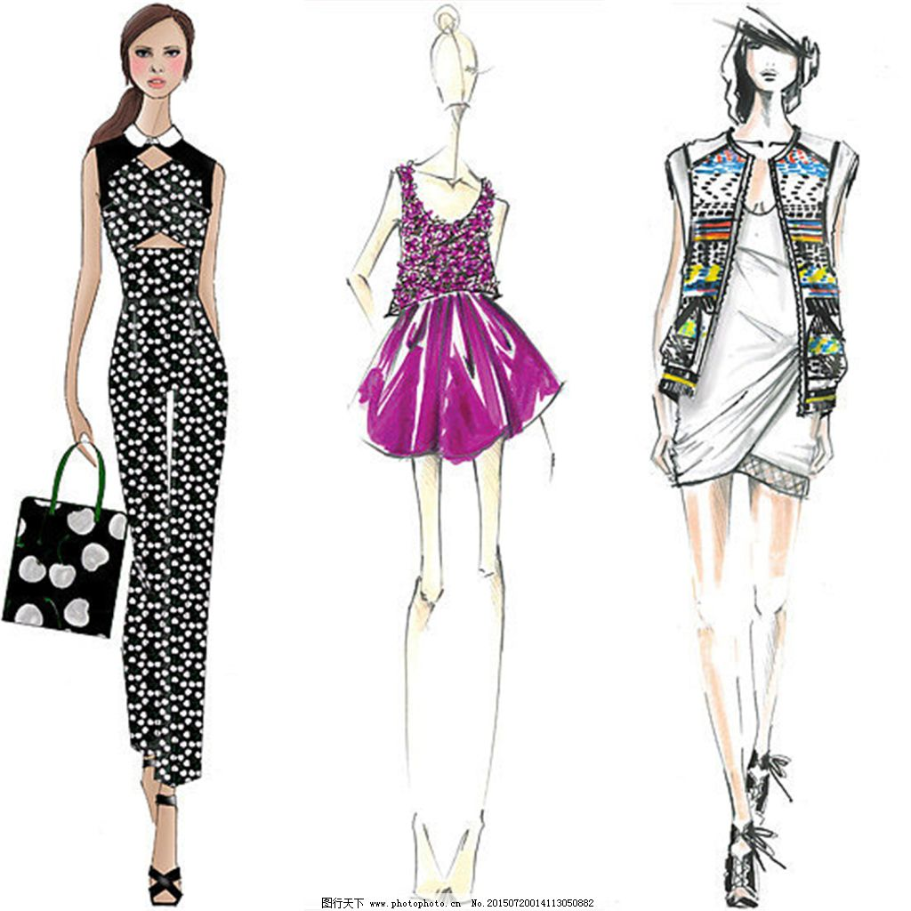 多色手绘服装设计一系列