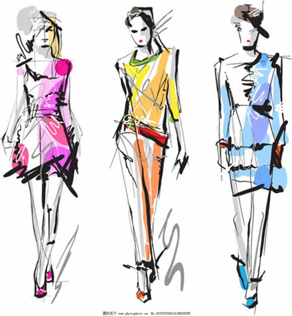 彩铅手绘服装设计图片大全展示