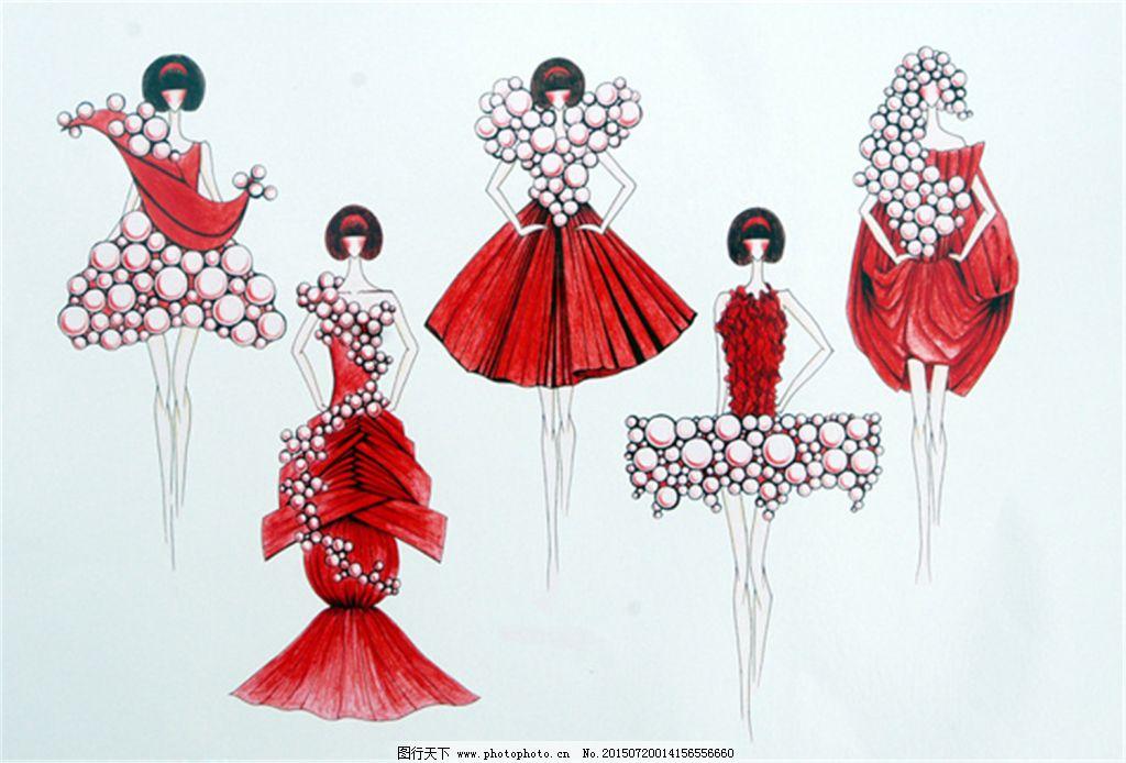 红色手绘服装设计