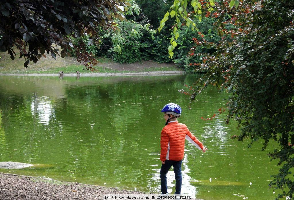 男孩 公园 喂食 池塘 水 树木 环境 欧洲 维也纳 自然风光 摄影 旅游