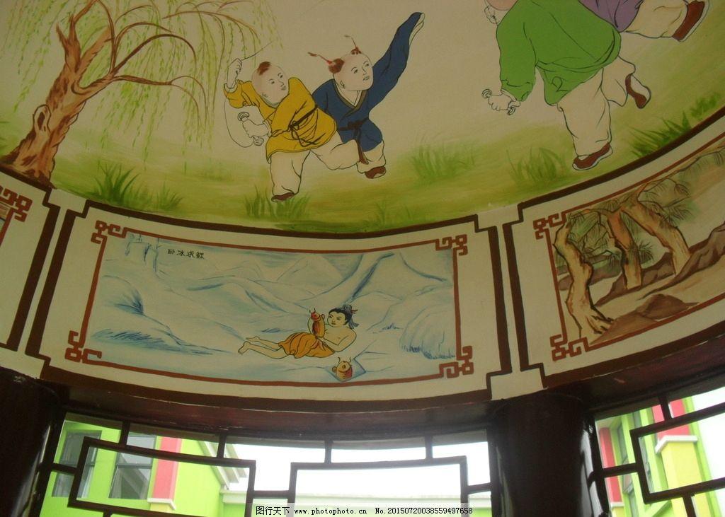 洛阳手绘墙画 手绘古建筑