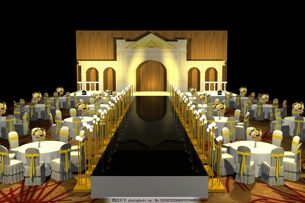 金色欧式经典婚礼 婚礼布置 舞台 婚庆 迎宾区 签到区 黑色