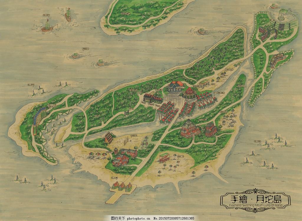 唐山乐亭旅游岛风景手绘月陀岛展示海报