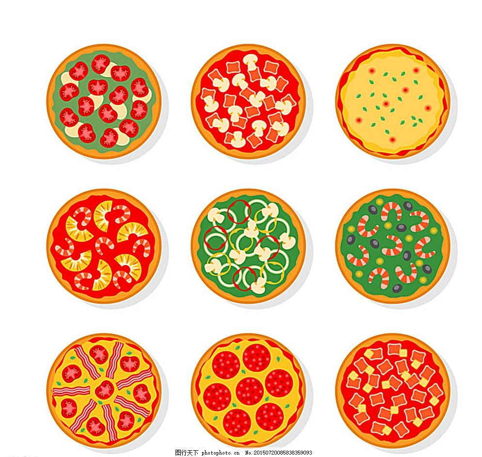 美味披萨俯视图矢量素材 意大利 快餐 西红柿 培根 海鲜 矢量图