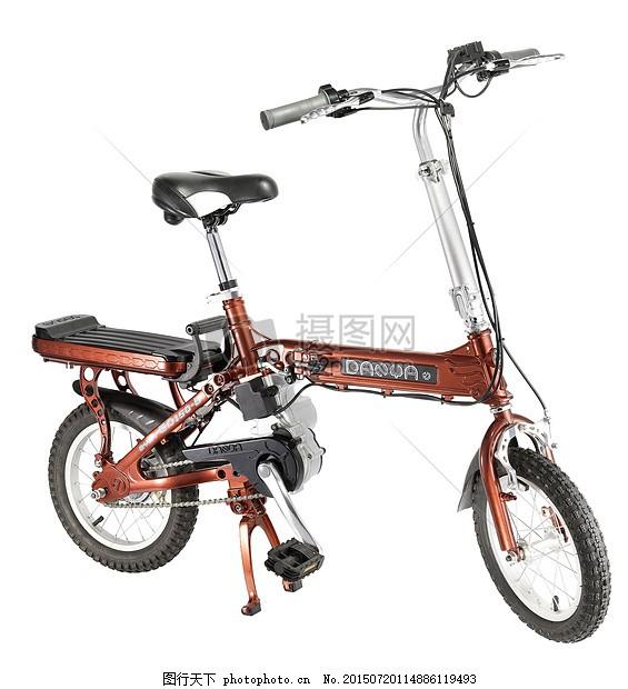 橘色的自行车 电动车 家用电器 小家电金属 银色 车轮 红色