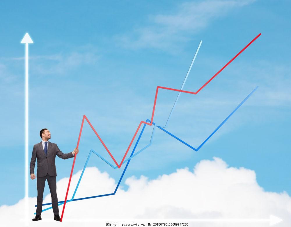 商务人物与趋势图图片