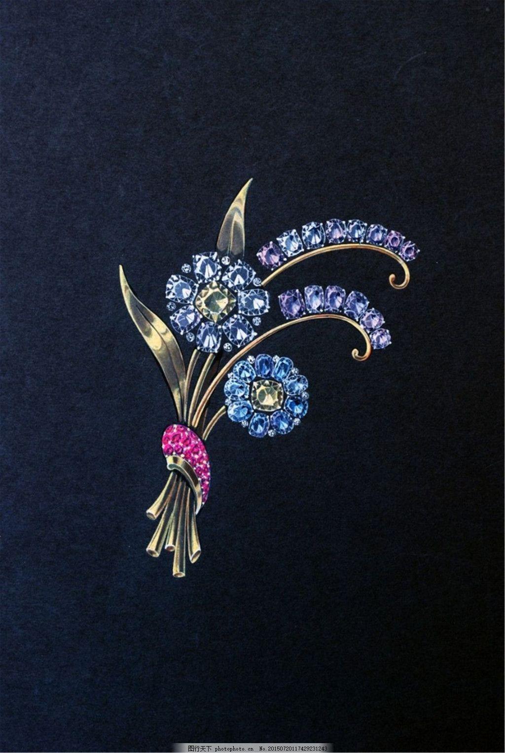 创意手绘花卉珠宝花朵素材 花束 黑色