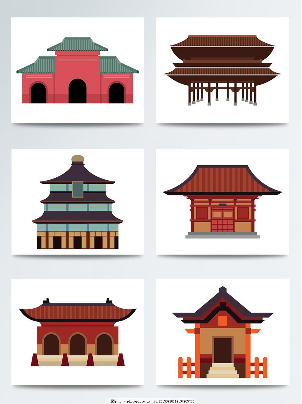 扁平化 扁平建筑 古代建筑 古建筑 建筑 日本 日式建筑 手绘建筑 中式