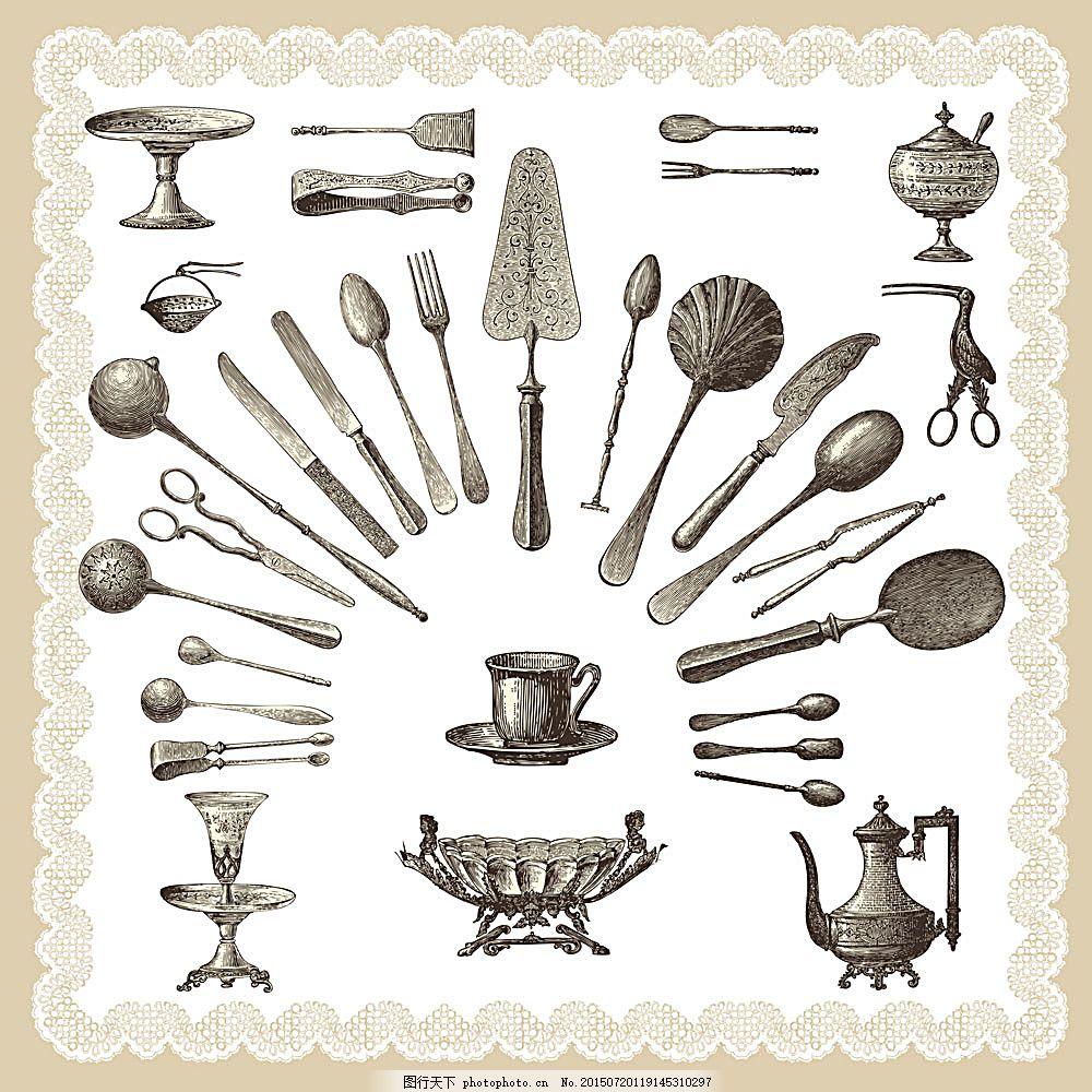 欧式复古餐具 欧式花纹 刀叉 勺子 汤匙 杯子 咖啡杯 其他