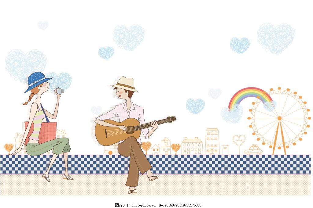 卡通情侣弹琴 卡通情侣 手绘情侣 情侣摩天轮 psd 白色
