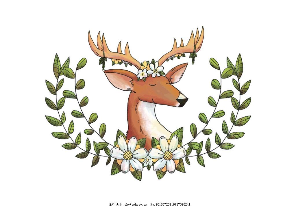 清新手绘麋鹿插画 动物 动物头像 卡通动物 梅花鹿 矢量动物 矢量素材