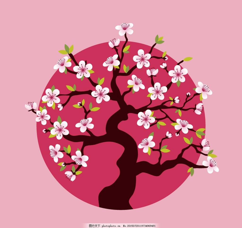太阳与粉丝樱花树