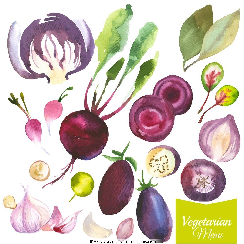 水彩蔬菜 水彩 手绘 蔬菜 食材 eps 白色 eps