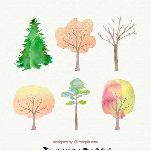 手绘树 水彩 自然 油漆 森林 树木 画 植被 白色