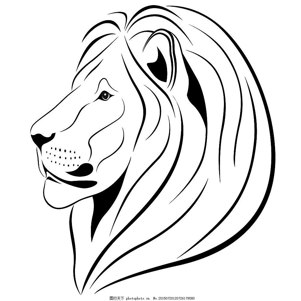 矢量狮子 狮子图腾 传统图案 古典花纹 复古花纹 狮子头 矢量动物