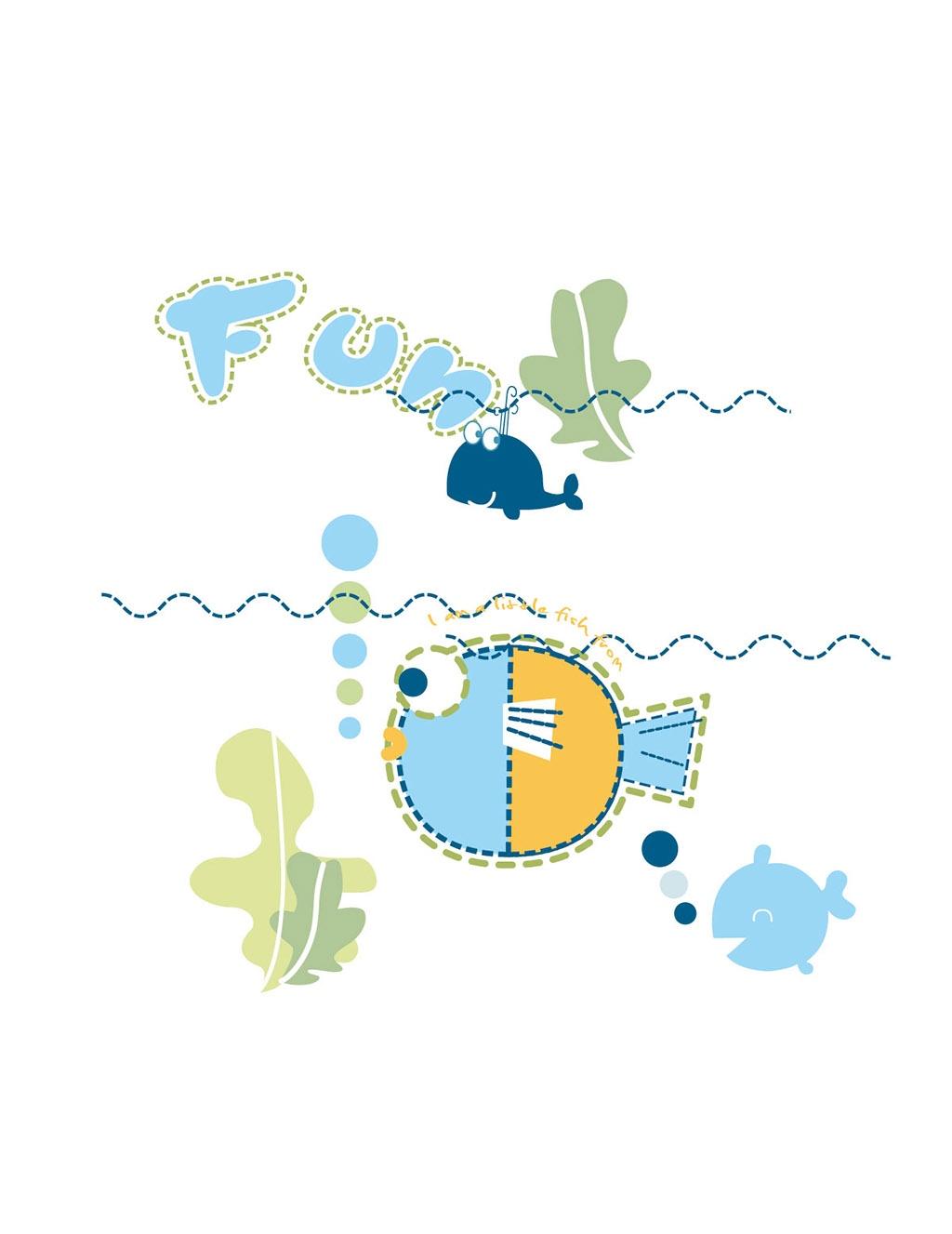 卡通动物印花素材 鱼 热带鱼 波浪线 虚线 海草 海带 气泡 圆点